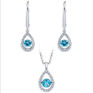 925 Sterling Silver Blue Topaz &White Sapphire Set